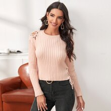 Lace Up Solid Sweater