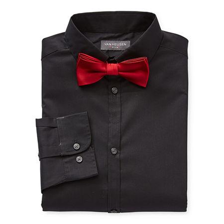 Van Heusen Little & Big Boys Point Collar Long Sleeve Stretch Shirt + Tie Set, 18-20 Husky , Black