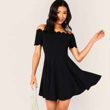 Off Shoulder Scallop Trim Fit and Flare Dress