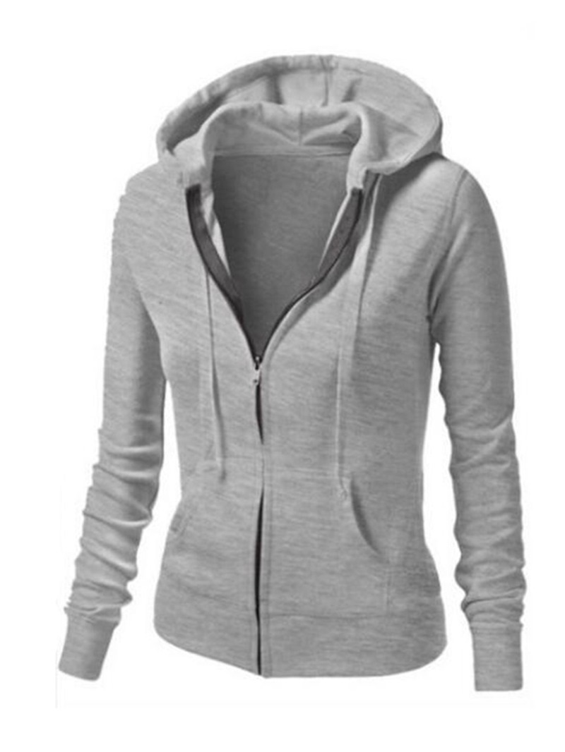 Ericdress Zipper Plain Casual Long Sleeves Cool Hoodie