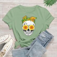 T-Shirt mit Schaedel & Blumen Muster