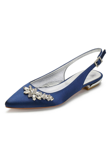 Milanoo Wedding Guest Shoes Deep Blue Rhinestones Pointed Toe Flat Bridal Shoes Satin Mother Shoes