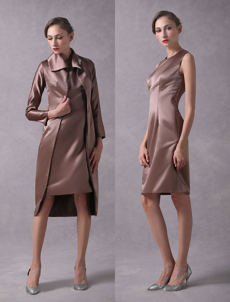 Milanoo Mother Of The Bride Dresses Outfits Brown Satin Knee Length Dress And Jacket Wedding Guest Dress