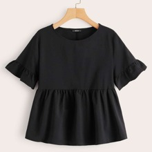 Solid Ruffle Trim Smock Top