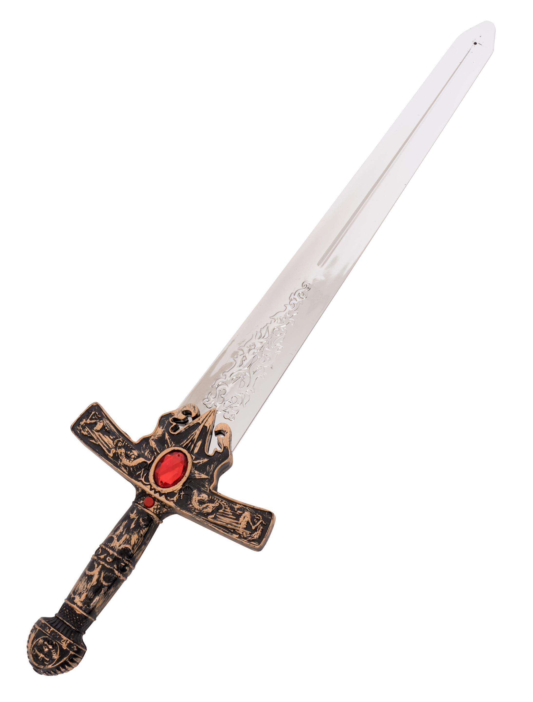 Kostuemzubehor Ritterschwert mit Sound Stein oval rot