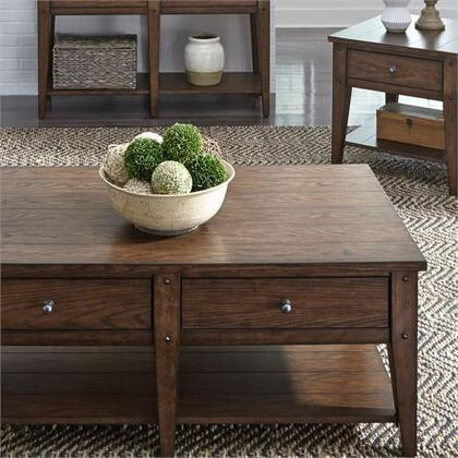 Lake House Collection 210-OT-3PCS 3PC Cocktail and End Table Set with Antique Brass Hardware  Appealing Planked Tops & Tapered Legs and Veneered