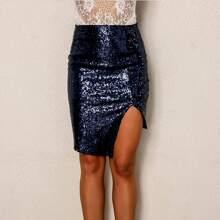 Split Front Sequin Asymmetrical Bodycon Skirt