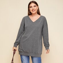 Plus V-neck Drop Shoulder Longline Sweatshirt