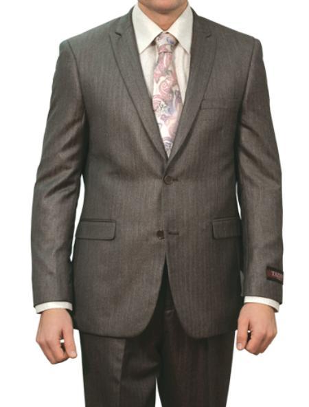 2 Button Shiny Carbon Grey Pin Stripe Front Closure Suit Mens Cheap