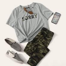 T-Shirt mit Buchstaben Muster & Leggings Set