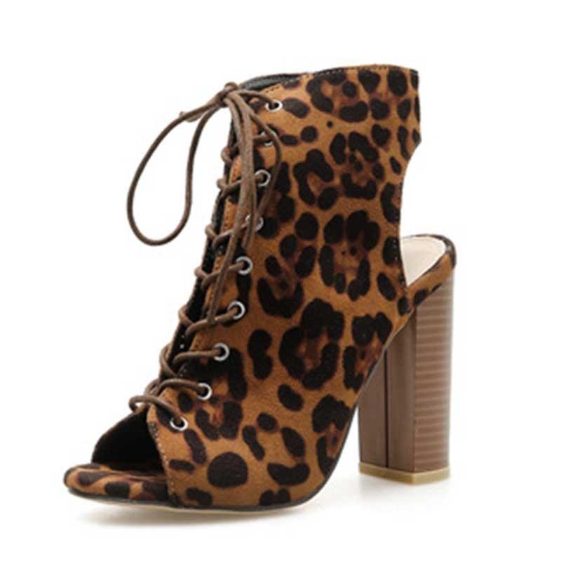 Ericdress Leopard Print Chunky Heel Peep Toe Cross Strap Women's Sandals