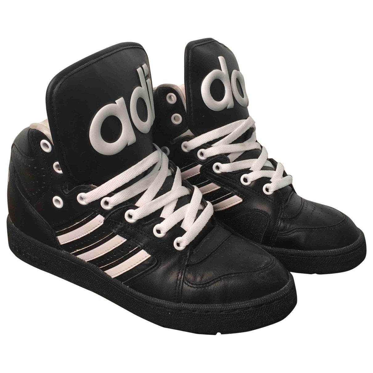Jeremy Scott Pour Adidas - Baskets   pour femme en cuir - noir