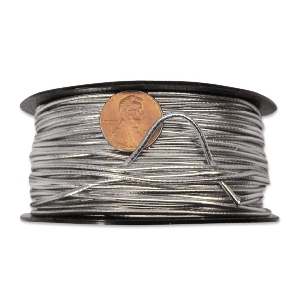 Colored Metal Silver Elastic Cord 2 mm X 50 Yards by Ribbons.com