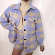 Mantel mit Karo Muster, Knopfen und Taschen Klappen
