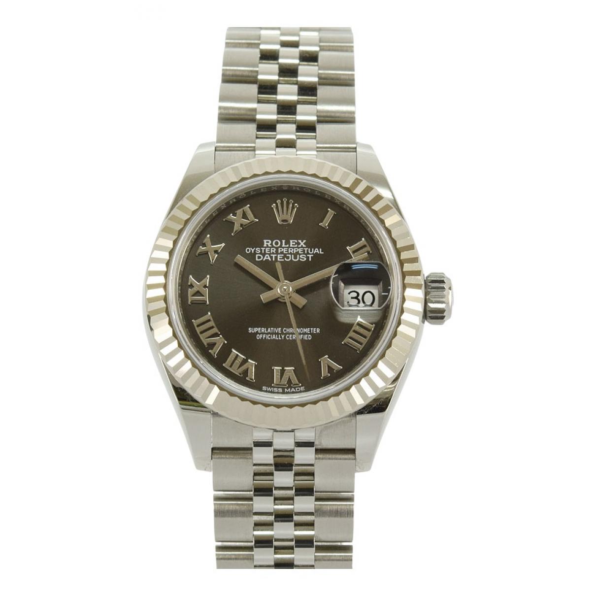 Rolex - Montre Lady DateJust 28mm pour femme en acier - gris