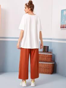 Figure Graphic Drop Shoulder Tee and Wide Leg Pants Set