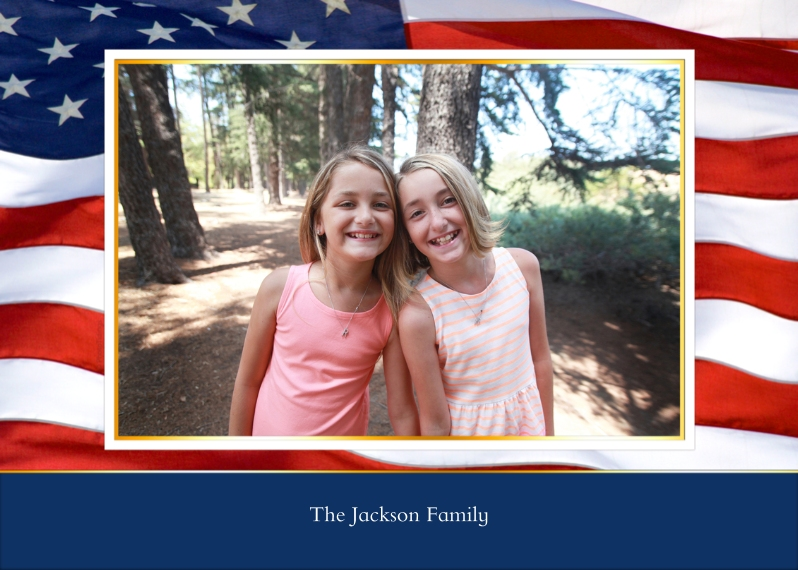 4th of July Photo Cards 5x7 Folded Cards, Standard Cardstock 85lb, Card & Stationery -American Flag