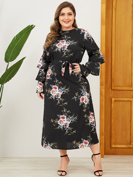 Yoins Plus Size Belt Design Floral Random Dress