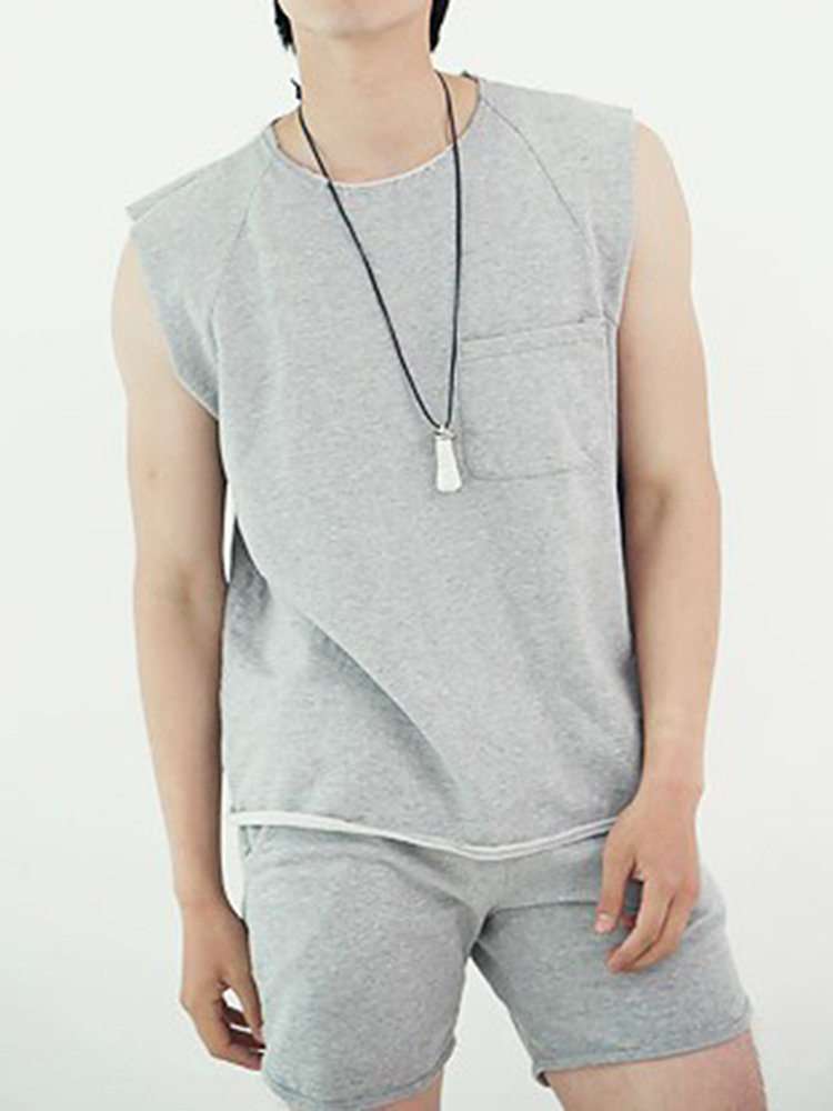 Mens Pocket Design Sleeveless Tank Tops Solid Color Comfortable Casual Cotton Vest