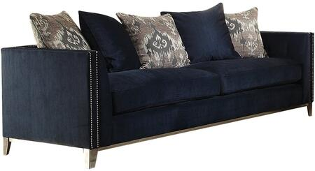Phaedra Collection 52830 Sofa with Tapered Metal Legs  Nail Head Trim  Stainless Steel Frame  Down Feather Filling Cushions  Pillows Included