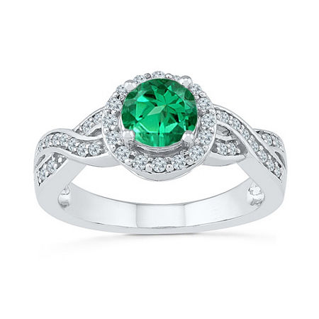 Womens 1/4 CT. T.W. Lab Created Green Emerald Sterling Silver Cocktail Ring, 4 , No Color Family