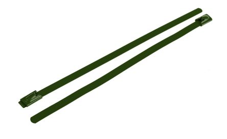 RS PRO Green Polyester Coated Stainless Steel Roller Ball Cable Tie, 200mm x 4.6 mm