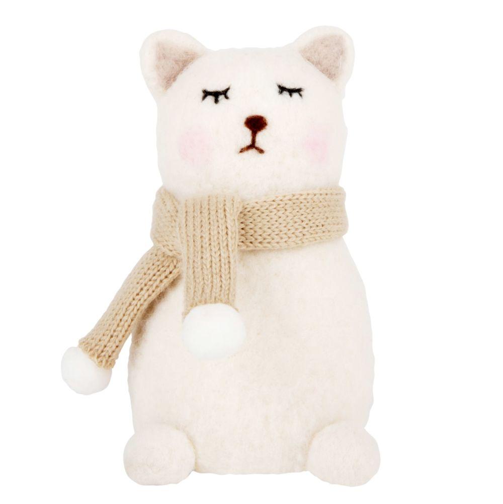Katzenfigur aus gekochter Wolle H15