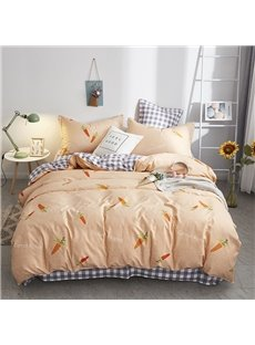 Lovely Yellow Carrots Soft And Cozy 4-Piece Polyester Bedding Sets/Duvet Covers