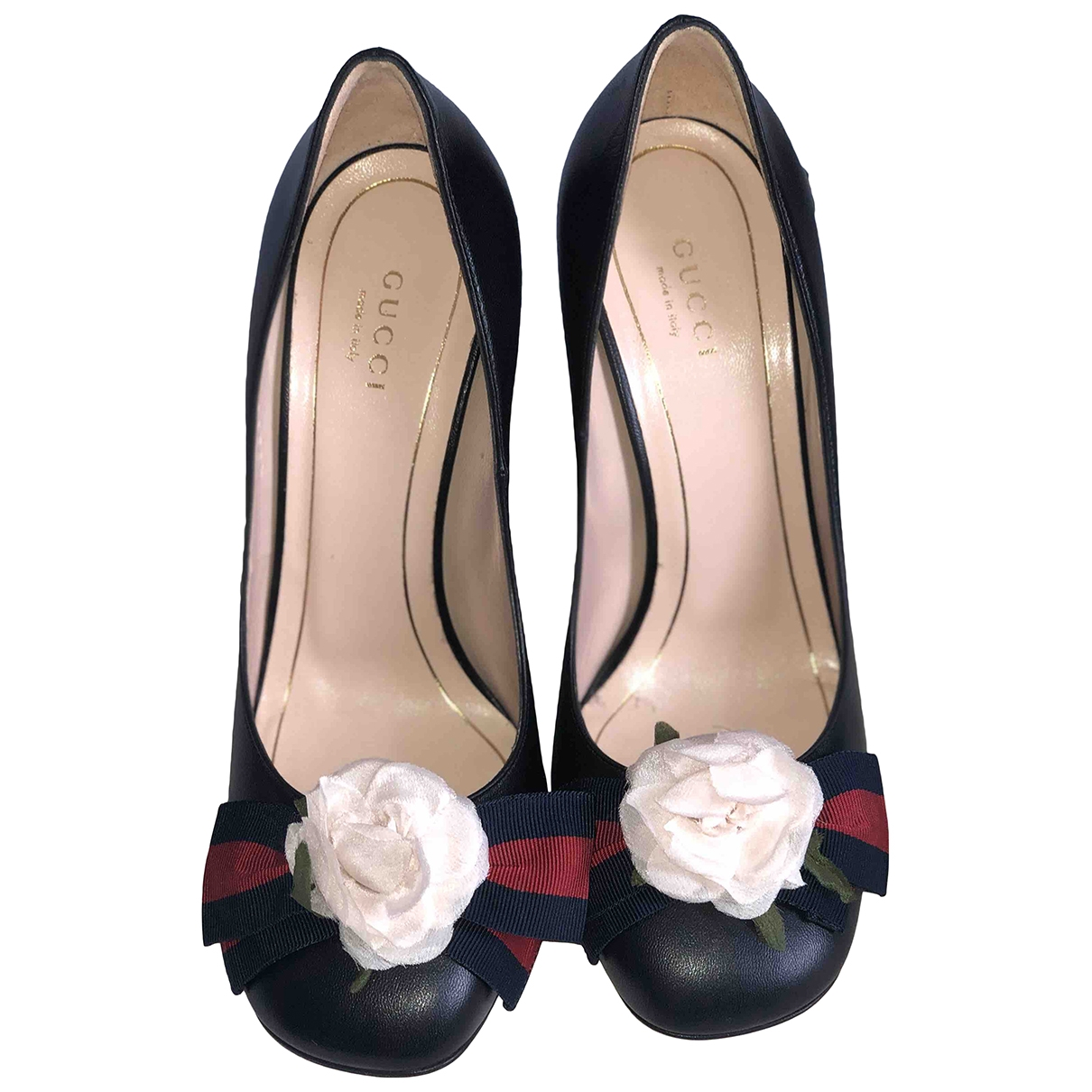 Gucci Sylvie Black Leather Heels for Women 37 EU