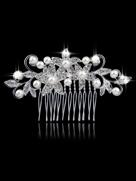 Milanoo Pearls Comb Silver Wedding Headpieces Bridal Hair Accessories