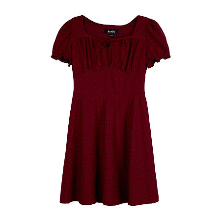 by&by Big Girls 3/4 Split Sleeve Shift Dress, X-large (16) , Red
