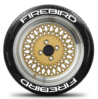 Tire Stickers FIREBIRD-1921-125-8-B Permanent Raised Rubber Lettering 'Firebird' Logo - 8 of each -19