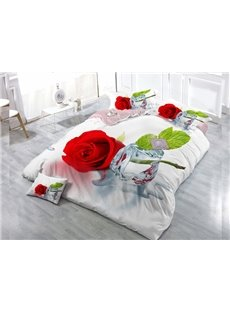 Rose And Ice Wear-resistant Breathable High Quality 60s Cotton 4-Piece 3D Bedding Sets