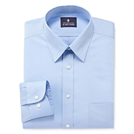 Stafford Mens Comfort Stretch Dress Shirt, 15 32-33, Blue