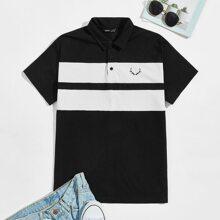 Guys Graphic Print Colorblock Polo Shirt