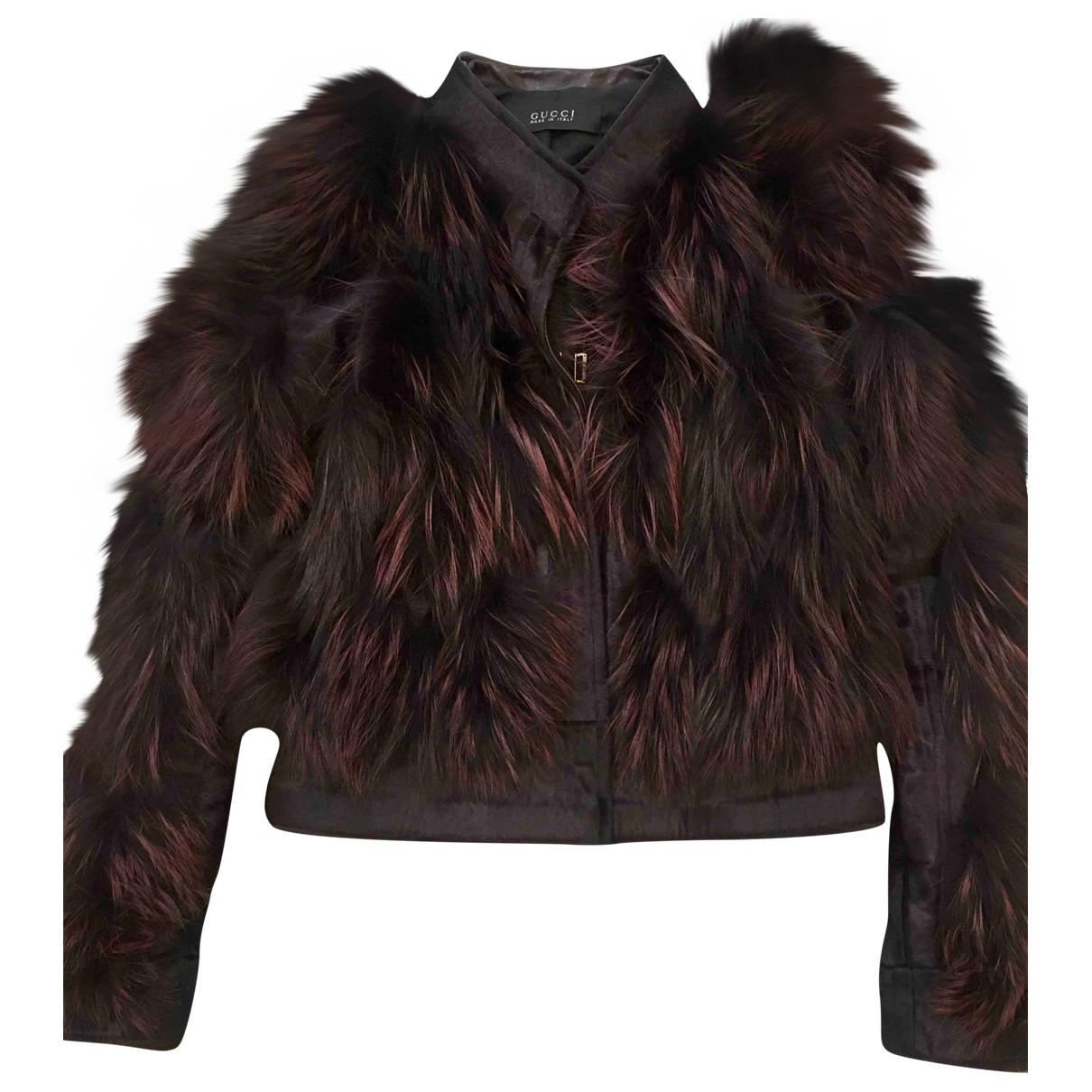 Gucci - Veste   pour femme en renard - bordeaux