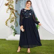 Plus Embroidery & Sequin Bodice A-line Dress