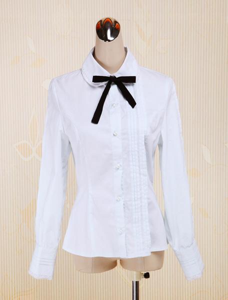 Milanoo White Cotton Lolita Blouse Long Sleeves Turn-down Collar Bow