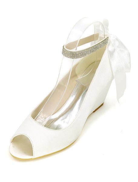 Milanoo Boho Wedge Wedding Shoes Peep Toe Ankle Strap Bridal Pumps in Blue