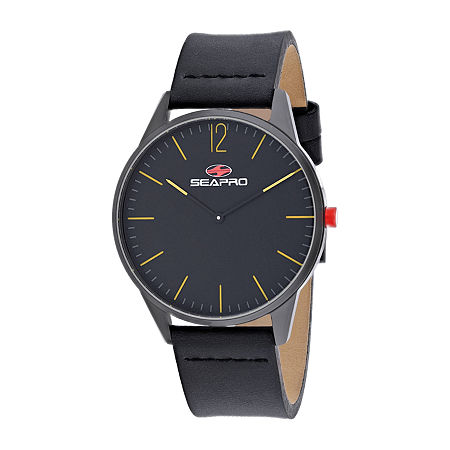 Sea-Pro Mens Black Leather Strap Watch-Sp0102, One Size , No Color Family