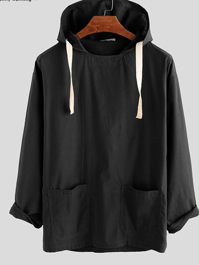 Ericdress Plain Hooded Casual Loose Fall Men's Shirt