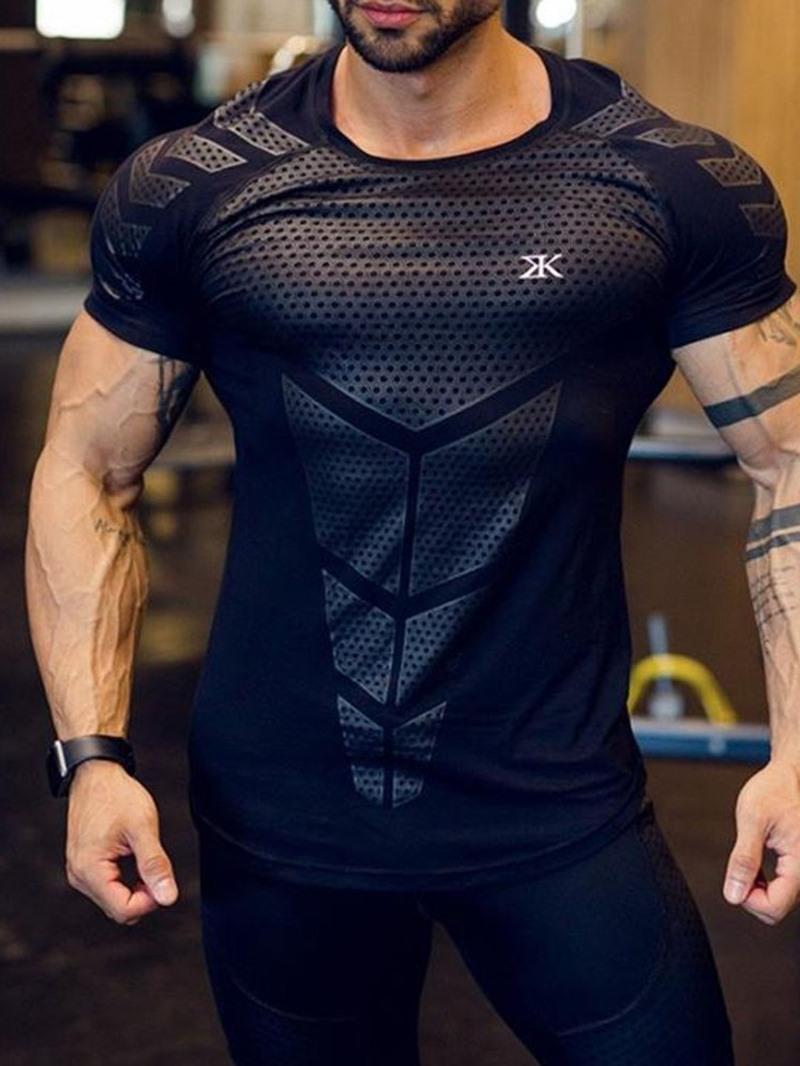Ericdress Sports Print Round Neck Short Sleeve Men's Slim T-shirt