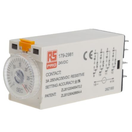 RS PRO 4PDT Time Delay Relay - 1 → 30 s, 4 Contacts, On-Delay, Plug In