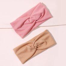 2 Stuecke Einfarbiges Stirnband mit Knoten Dekor
