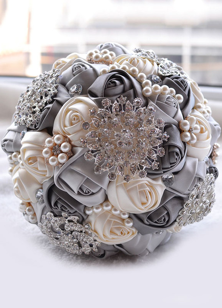 Milanoo Wedding Flowers Bouquet Pink Rhinestones Pearls Beaded Ribbons Hand Tied Bridal Bouquet
