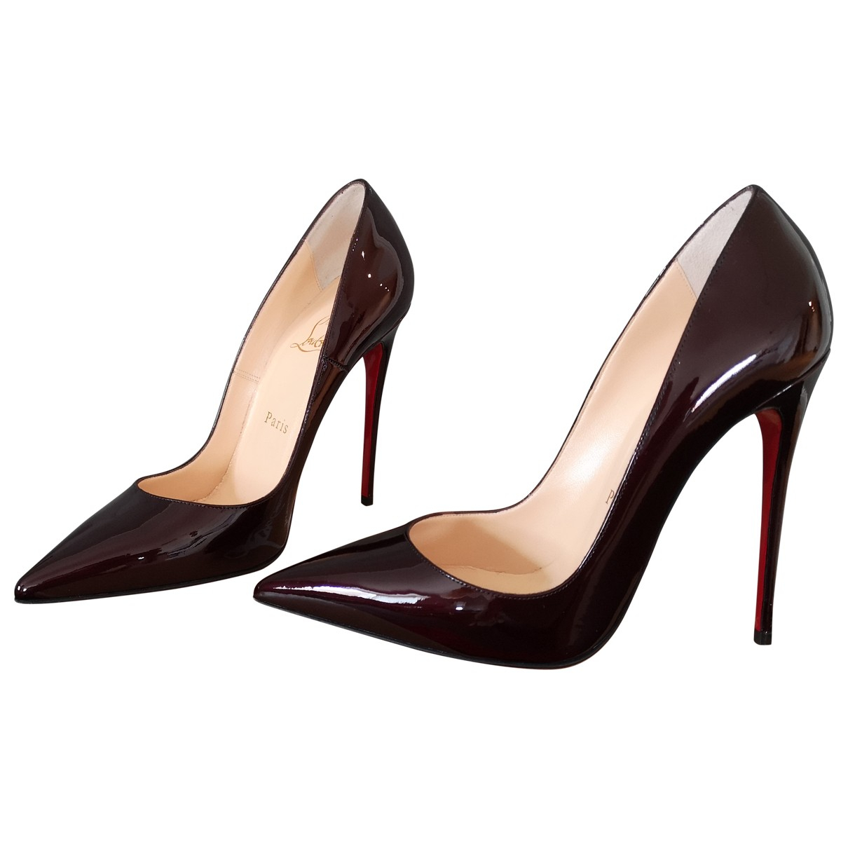 Christian Louboutin So Kate  Burgundy Patent leather Heels for Women 37.5 EU