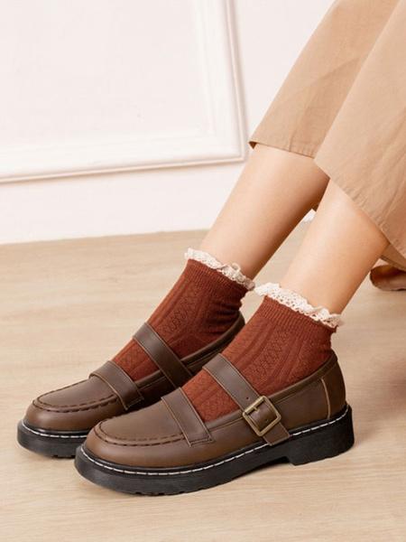 Milanoo Classic Lolita Shoes Black Round Toe PU Leather Lolita Shoes
