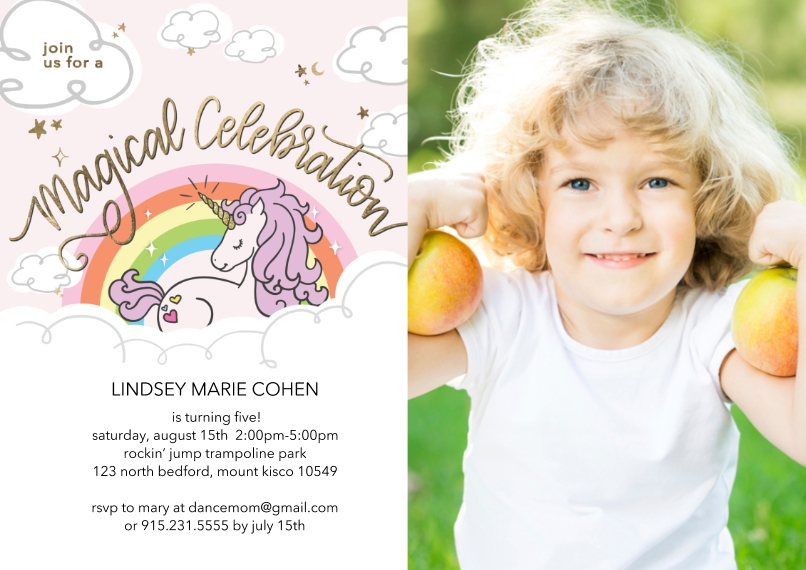 Kids Birthday Party 5x7 Cards, Premium Cardstock 120lb, Card & Stationery -Birthday Party Magical Unicorn Invite by Tumbalina