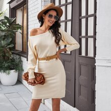 Batwing Sleeve Sweater Dress Without Belt