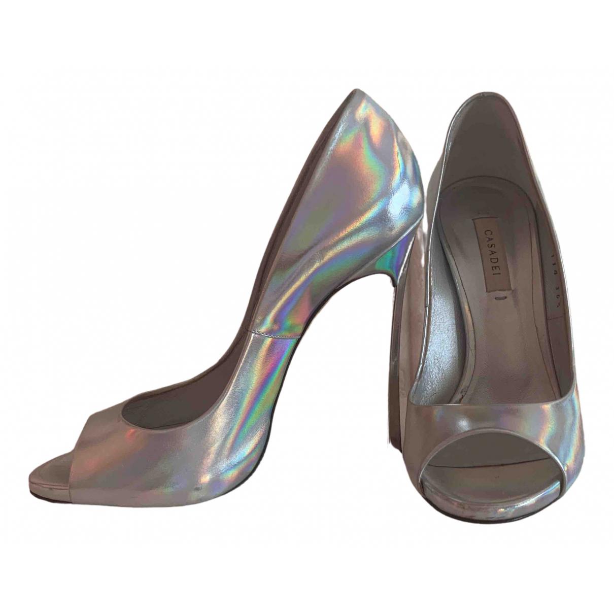 Casadei N Silver Leather Heels for Women 36.5 IT